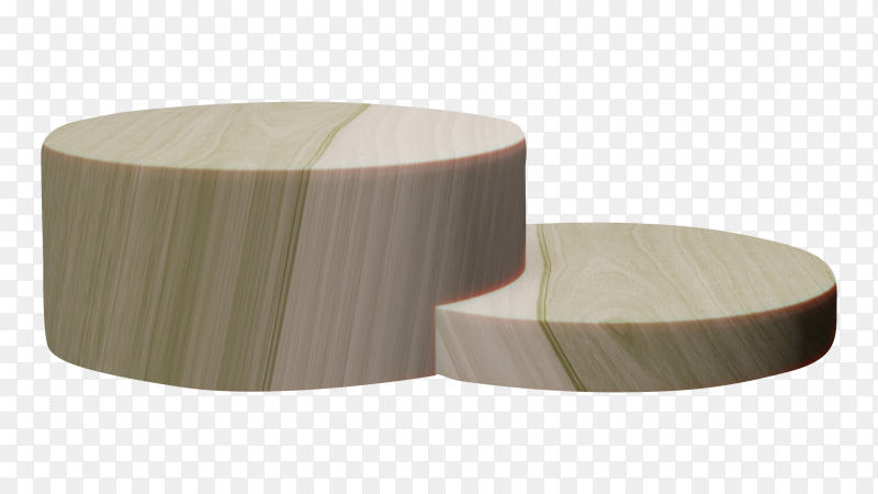 3D render wood Podium on transparent background PNG