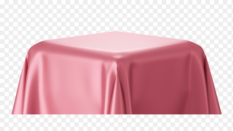 3D rendering podium with pink silk fabric on transparent background PNG