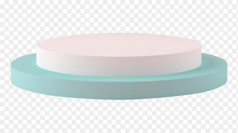3D rendering white and blue podium on transparent background PNG