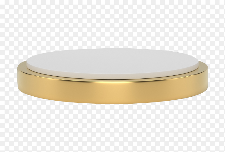 3D rendering white and gold pedestal podium on transparent background PNG