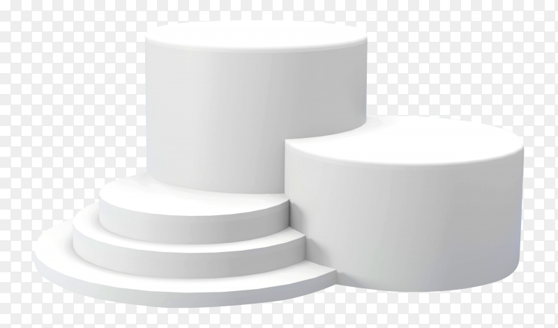 3D rendering white podiums with different heights on transparent background PNG