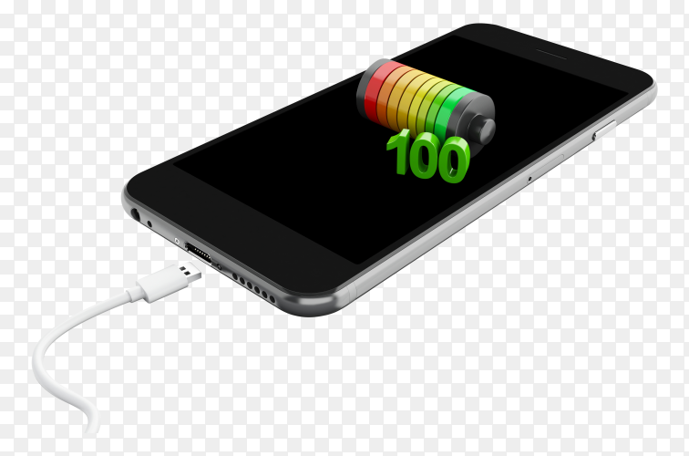 3D smartphone battery charge indicator on transparent background PNG