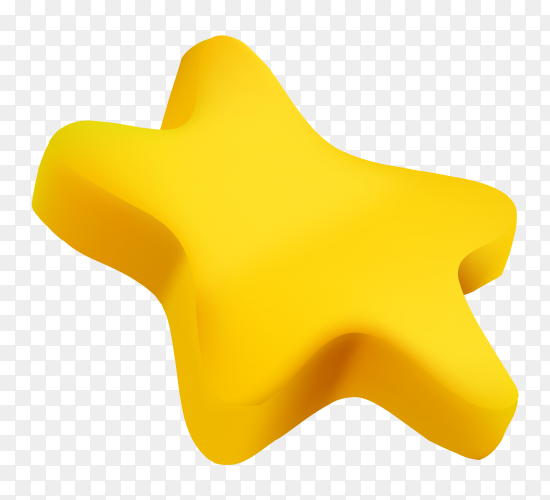 3D yellow star on transparent background PNG