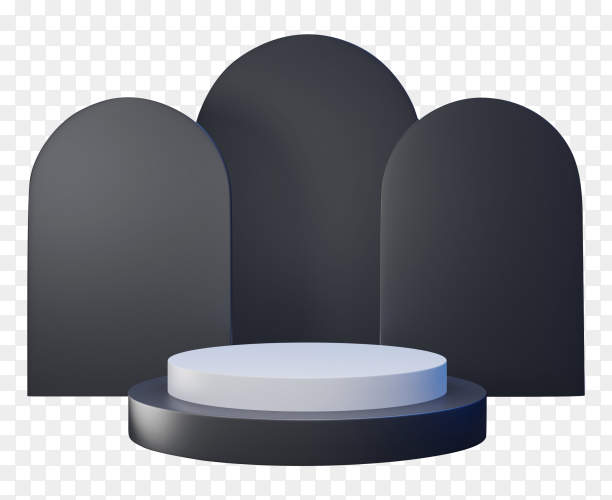 3D geometric black and white podium for product placement on transparent background PNG