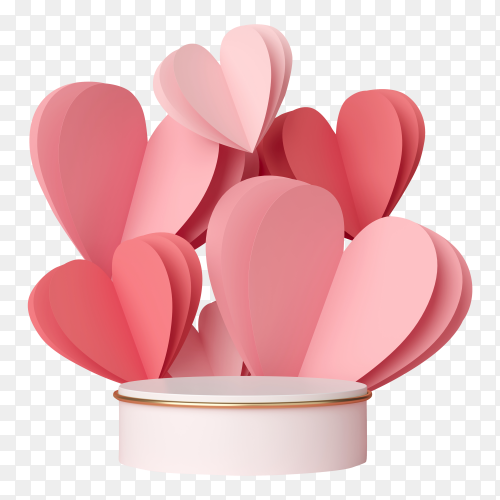 3d rendering of podium display with Pink heart on transparent background PNG