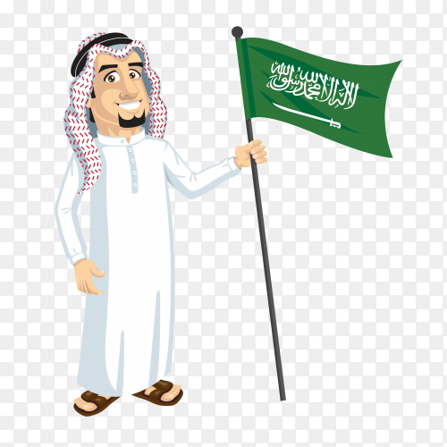 A Saudi citizen holds the flag of Saudi Arabia on transparent background PNG