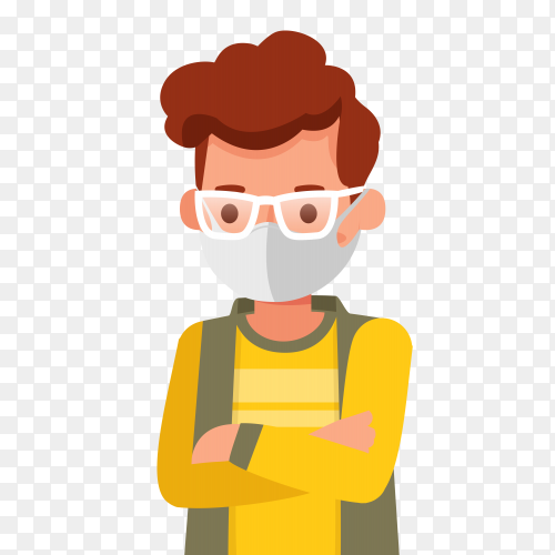 A boy wearing medical mask premium vector PNG