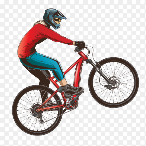 A man ride sports bicycle on transparent background PNG