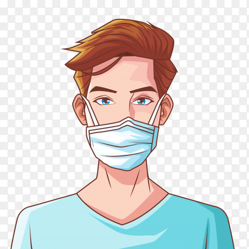 A man wearing medical mask premium vector PNG