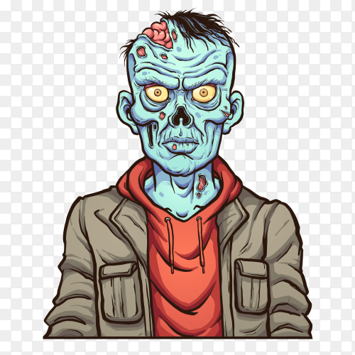 A zombie character on transparent background PNG