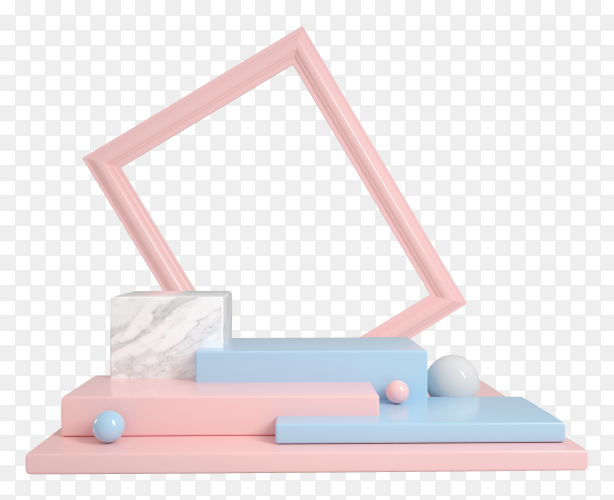 Abstract display clean pastel blue and pink with frame text products on transparent background PNG