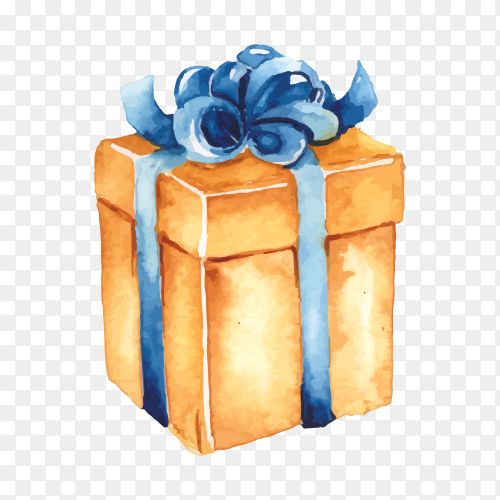 Abstract gift box with blue ribbon on transparent background PNG
