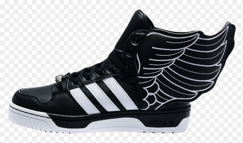 Adidas half shoes Black White on transparent background PNG
