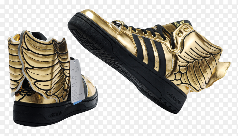 Adidas shoes Gold Black on transparent background PNG