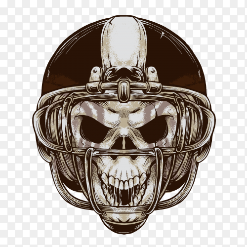 American football skull on transparent background PNG