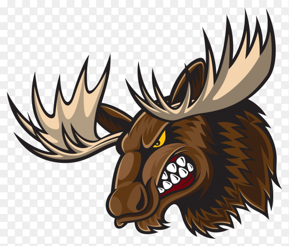 Angry Cartoon Deer on transparent background PNG