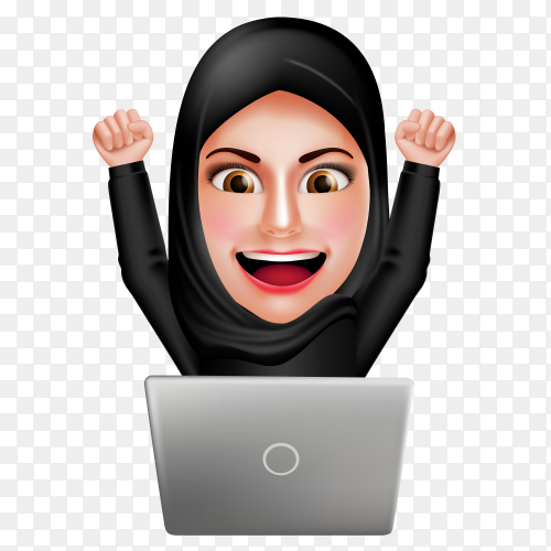 Arab business woman working on laptop Premium vector PNG