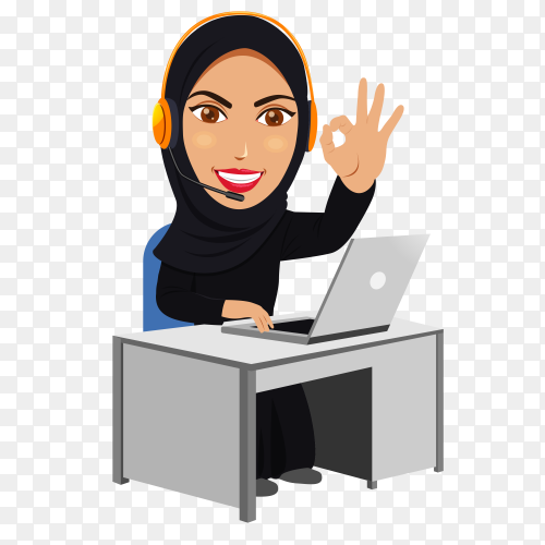 Arab business woman working on laptop on transparent PNG