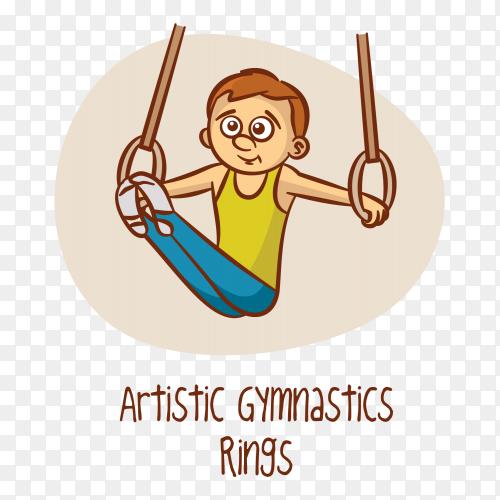 Artistic gymnastics rings sport vector PNG