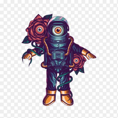 Astronaut alien Premium vector PNG
