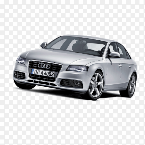 Audi car Gray on transparent background PNG