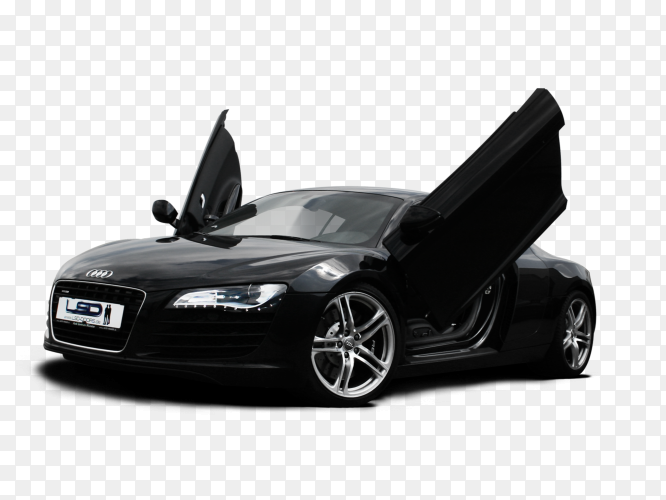 Audi sport car black on transparent background PNG