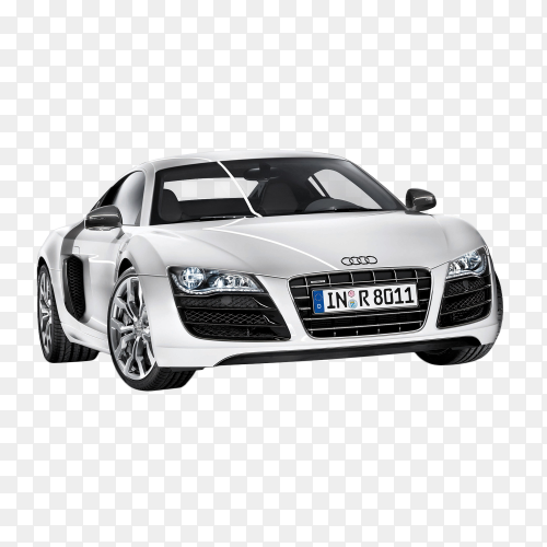 Audi car white on transparent background PNG