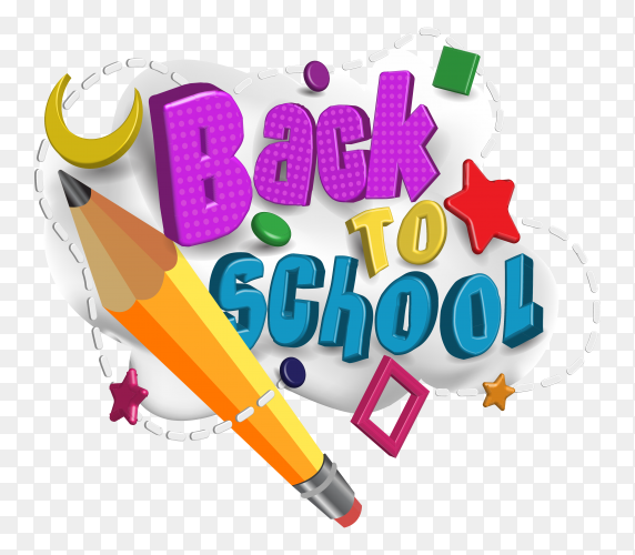 Back to school wallpaper with pencil on transparent background PNG