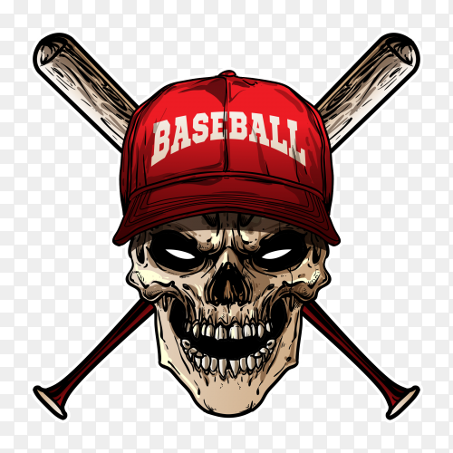 Baseball skull design on transparent background PNG