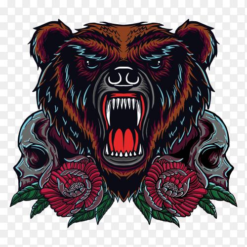 Bear skull t-shirt design on transparent background PNG