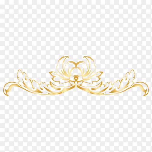 Beautiful decorative golden floral on transparent background PNG