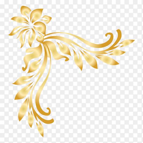 Beautiful decorative golden floral premium vector PNG