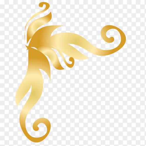 Beautiful decorative golden floral vector PNG