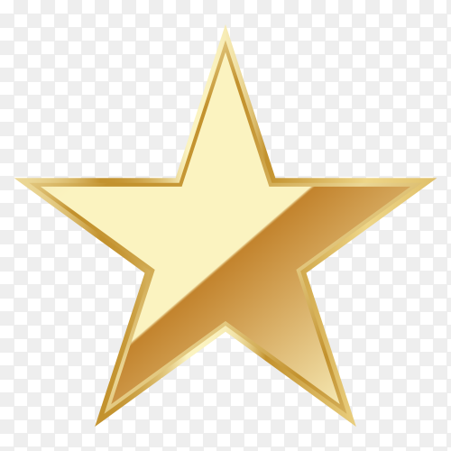 Beautiful gold star on transparent background PNG