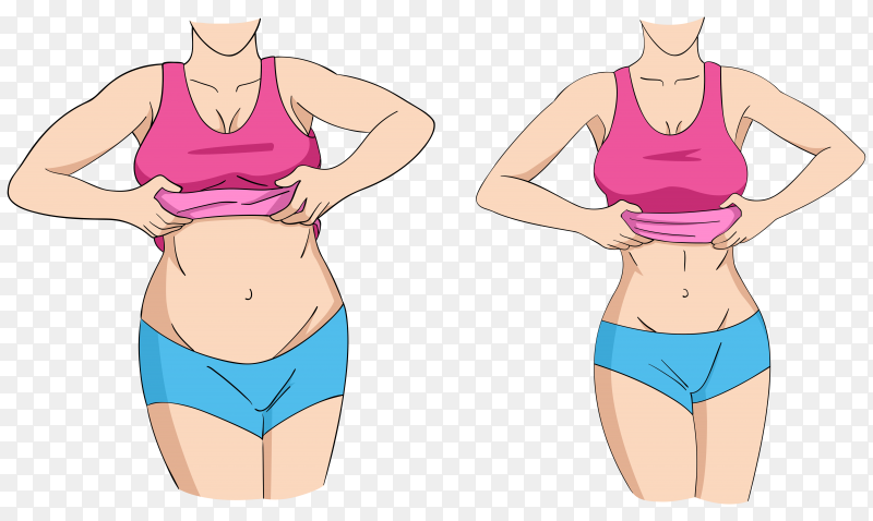 Before and after weight loss fat and slim female Premium Vector PNG