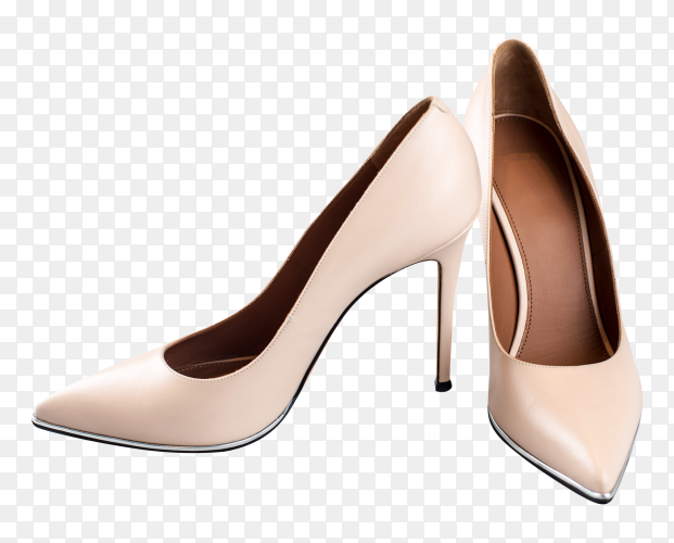 Beige high heel shoes isolated on transparent bakground PNG