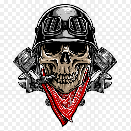 Biker skull logo on transparent background PNG
