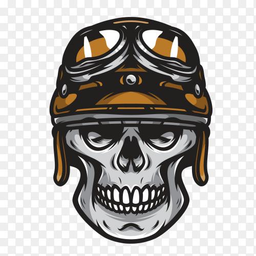 Biker skull with helmet moto on transparent background PNG