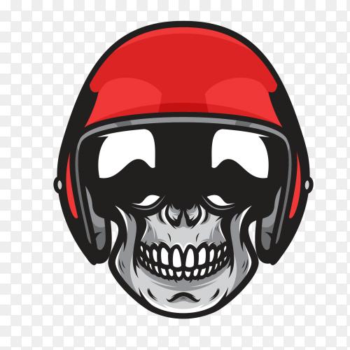 Biker skull with red helmet moto on transparent background PNG