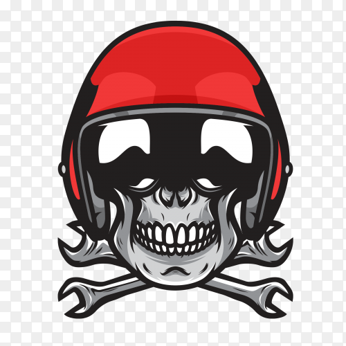 Biker skull with red helmet moto premium vector PNG