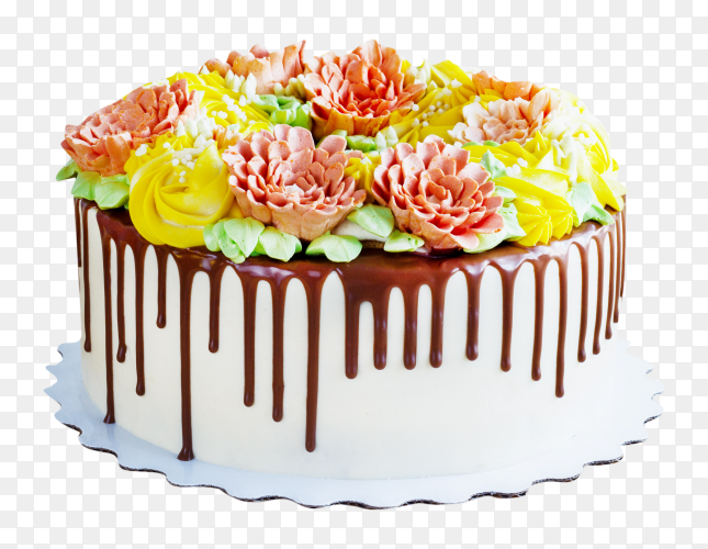 Birthday cake with flowers on transparent background PNG