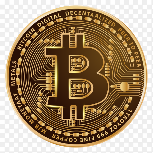 Bitcoin background with golden coin Premium vector PNG