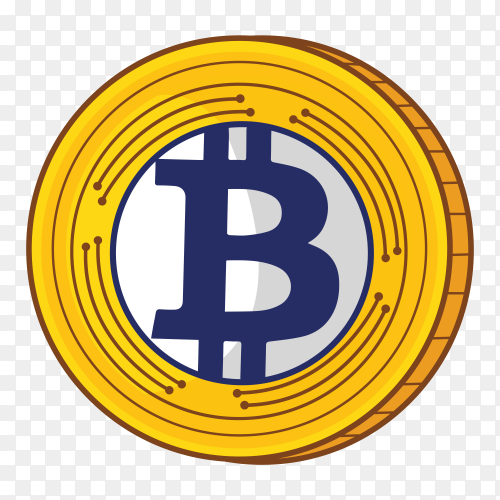 Bitcoin design on transparent background PNG