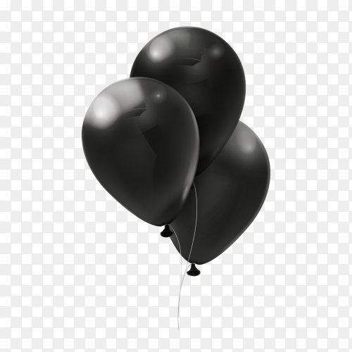 Black balloons on transparent background PNG