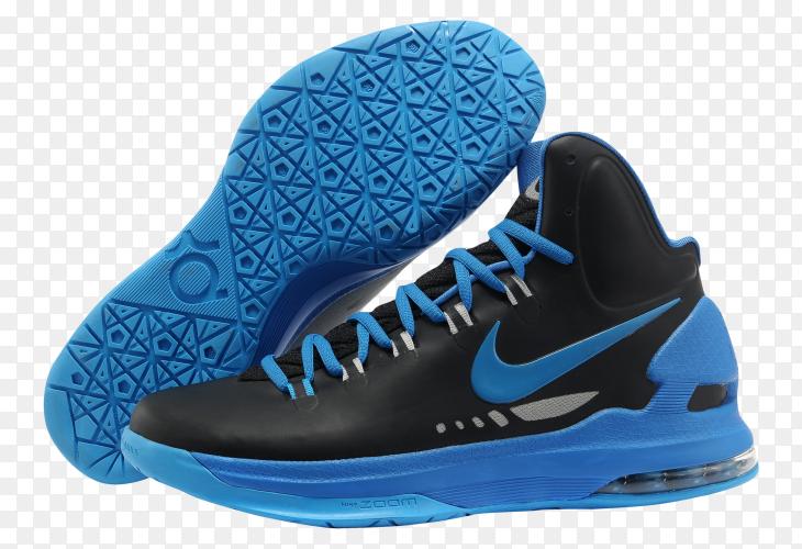 Black blue nike shoes on transparent background PNG