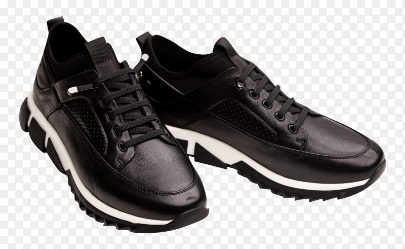 Black mens leather sneakers isolated on transparent background PNG