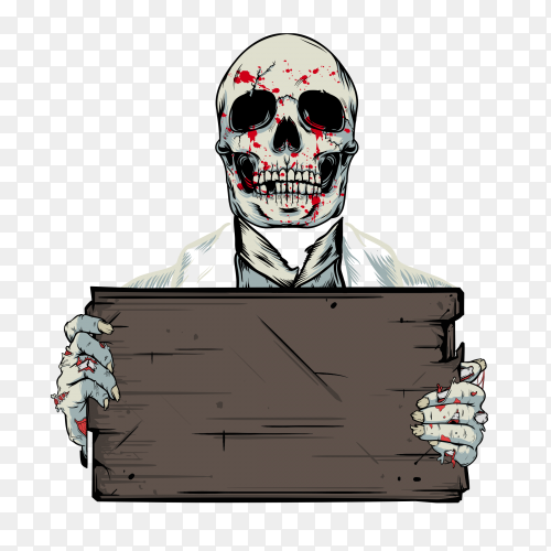 Bloody skull on transparent background PNG