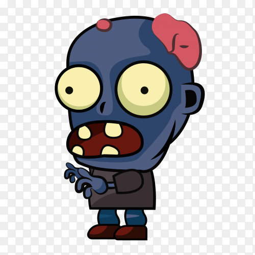 Blue Zombie character sprites on transparent background PNG