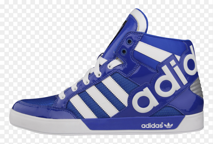 Blue adidas shose on transparent background PNG