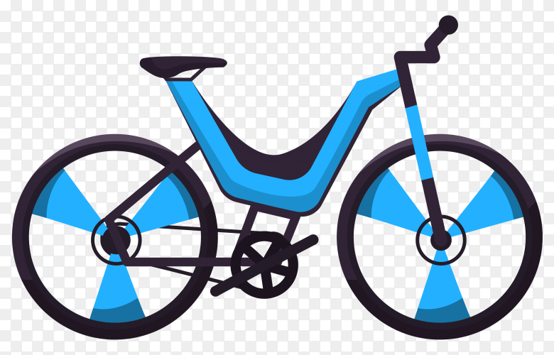 Blue bicycle on transparent background PNG